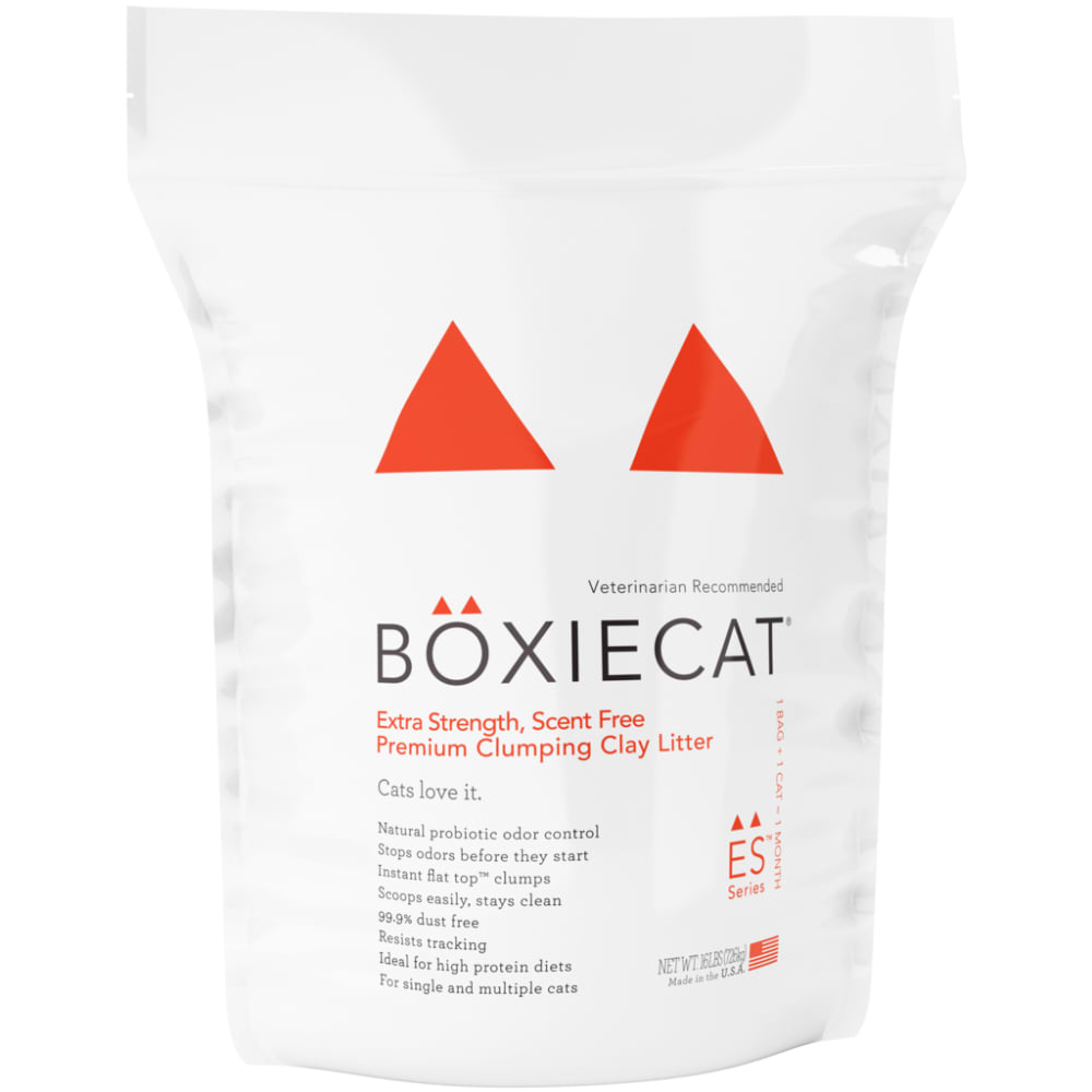 BoxieCat - Extra Strength, Scent Free Premium Clumping Clay Cat Litter, 16lb