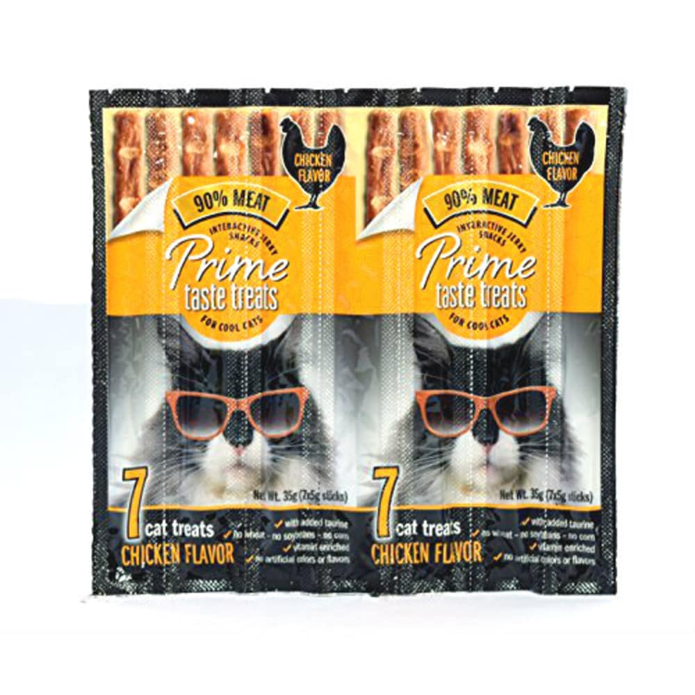 Prime Taste Treats - Interactive Jerky Snacks Chicken Flavor Grain-Free Cat Treats, 7 Pack
