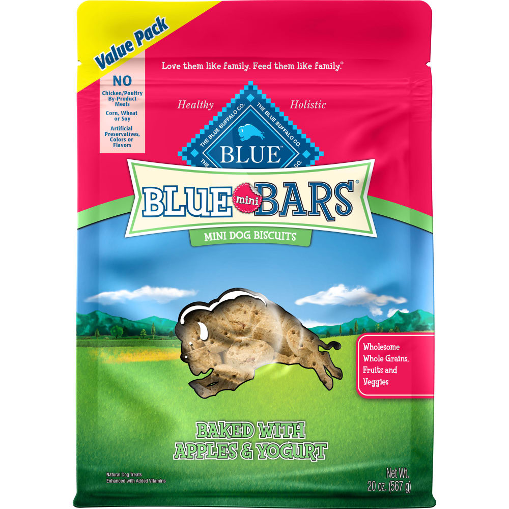 Blue Buffalo - Mini Blue Bars Baked With Apples & Yogurt Value Pack Dog Treats, 20oz