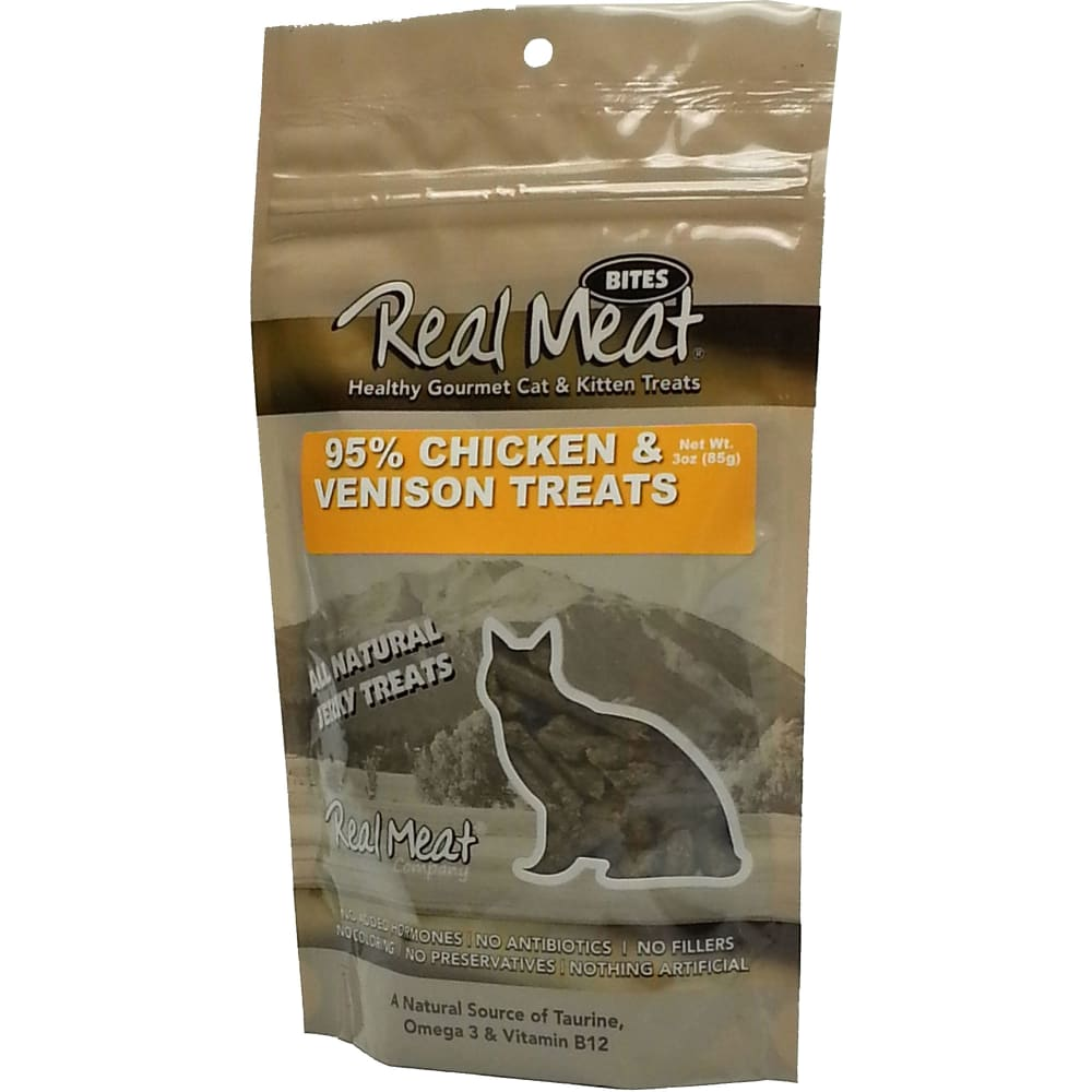 The Real Meat Company - Chicken & Venison Jerky Grain-Free Cat Treats, 3oz