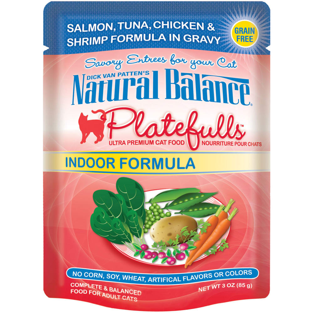 Natural Balance - Platefulls Salmon, Tuna, Chicken & Shrimp Formula In Gravy Grain-Free Cat Food Pouch, 3oz