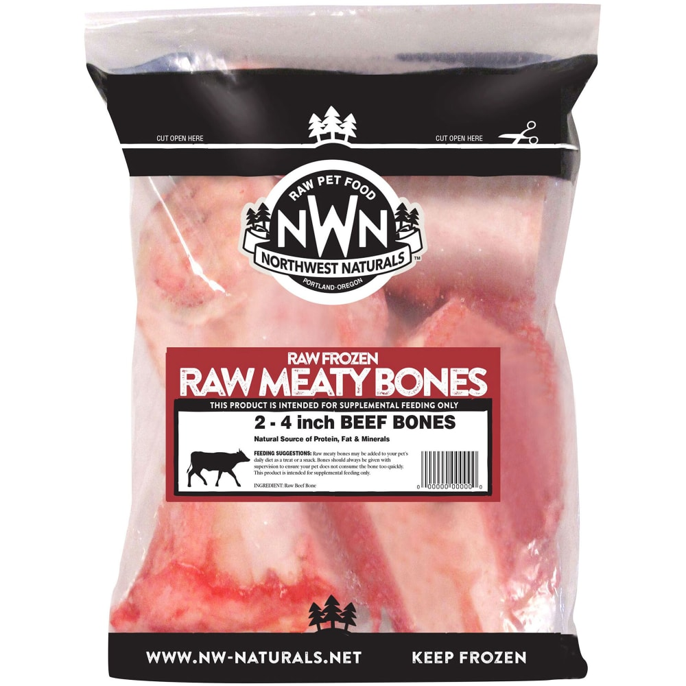 Northwest Naturals - 4 Inch Raw, Meaty Bones Grain-Free Raw Frozen Dog Bones, 2 Pack