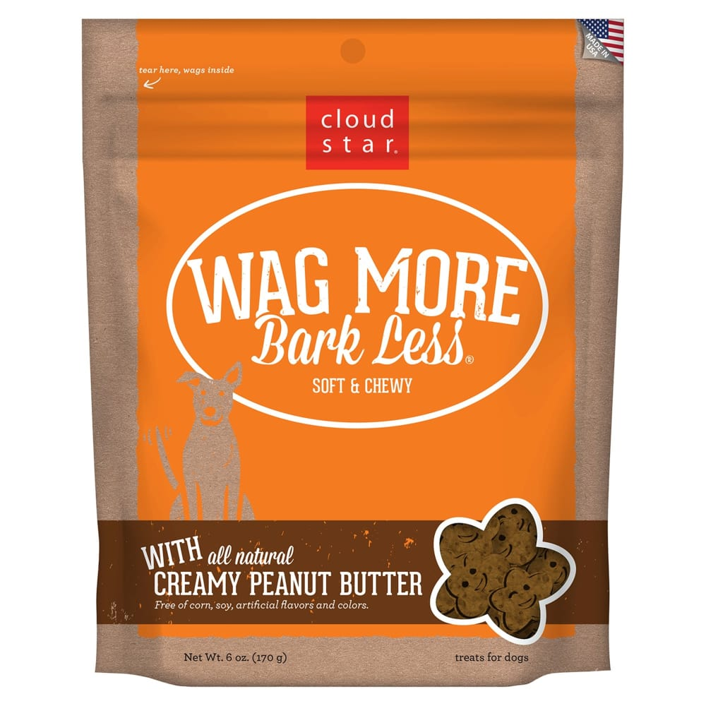 Cloud Star - Wag More Bark Less Soft & Chewy Creamy Peanut Butter Grain-Free Dog Treats, 6oz