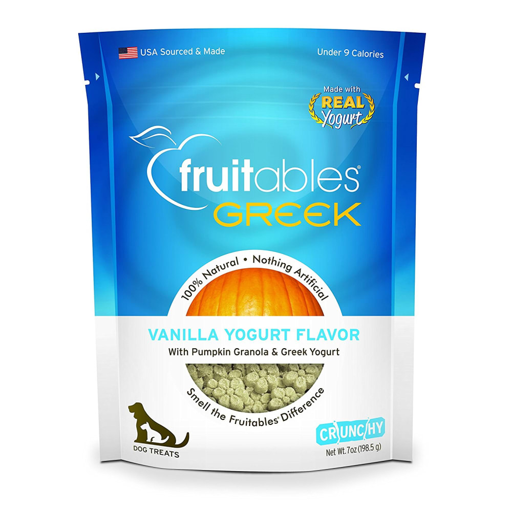 Fruitables - Greek Vanilla Yogurt Flavor Crunchy Dog Treats, 7oz