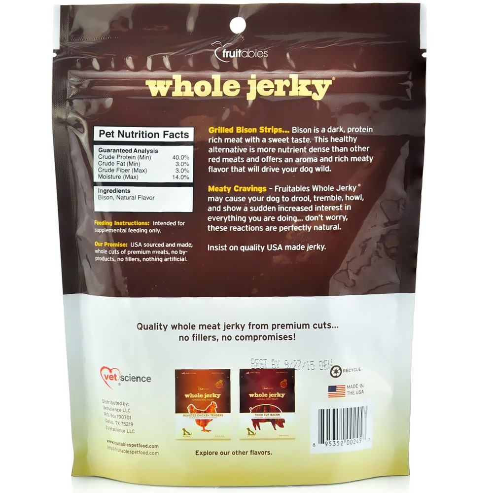 Fruitables - Whole Jerky Grilled Bison Strips Dog Treats, 5oz