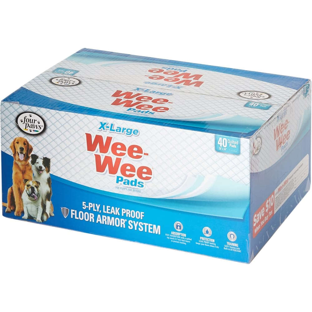 Four Paws - Wee Wee Pads Extra Large Puppy Housebreaking Pads, 40ct