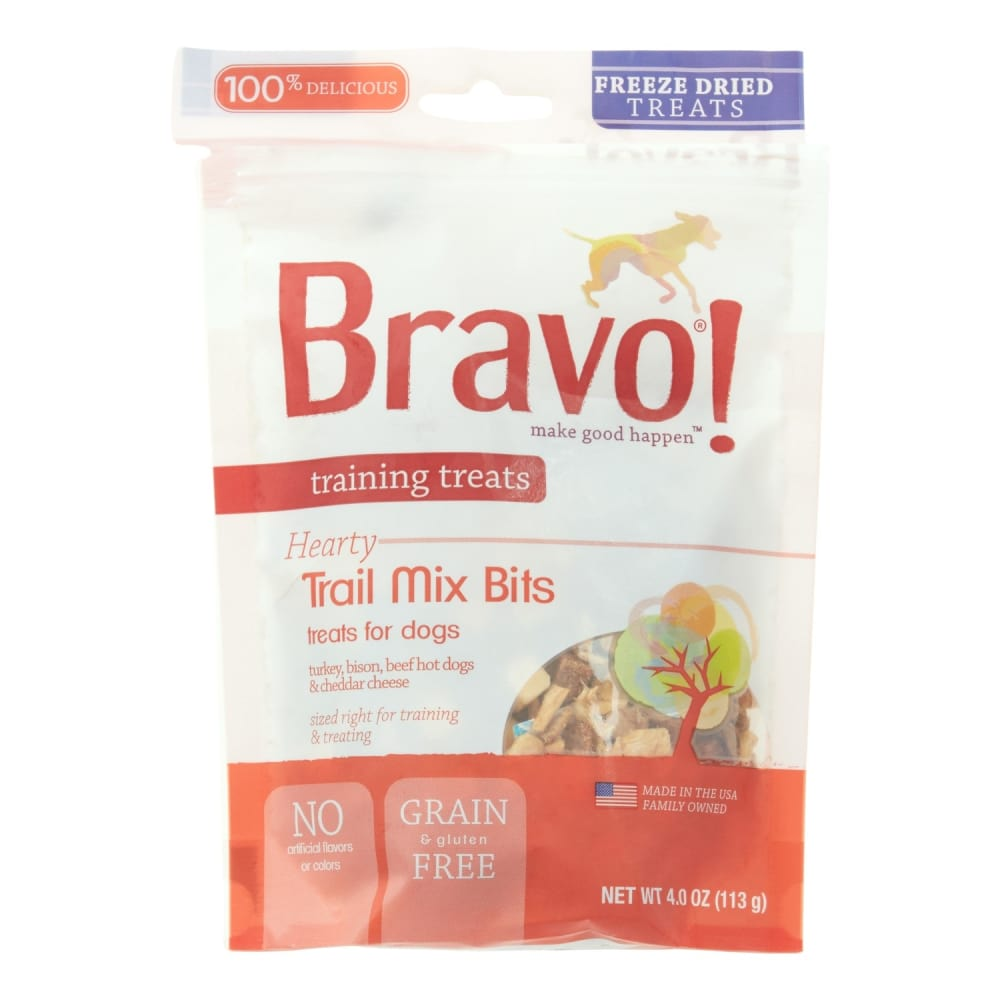 Bravo - Freeze-Dried Trail Mix Bits With Turkey, Bison, Beef Hot Dogs & Cheddar Cheese Grain-Free Dog Treats, 4oz