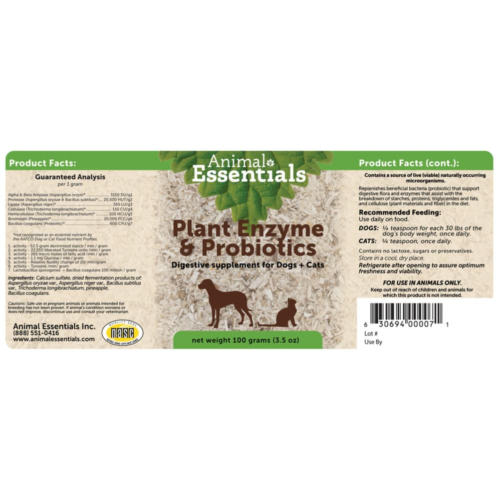 Animal Essentials - Plant Enzyme & Probiotics Digestive Supplement Herbal Formaul For Dogs & Cats 100g