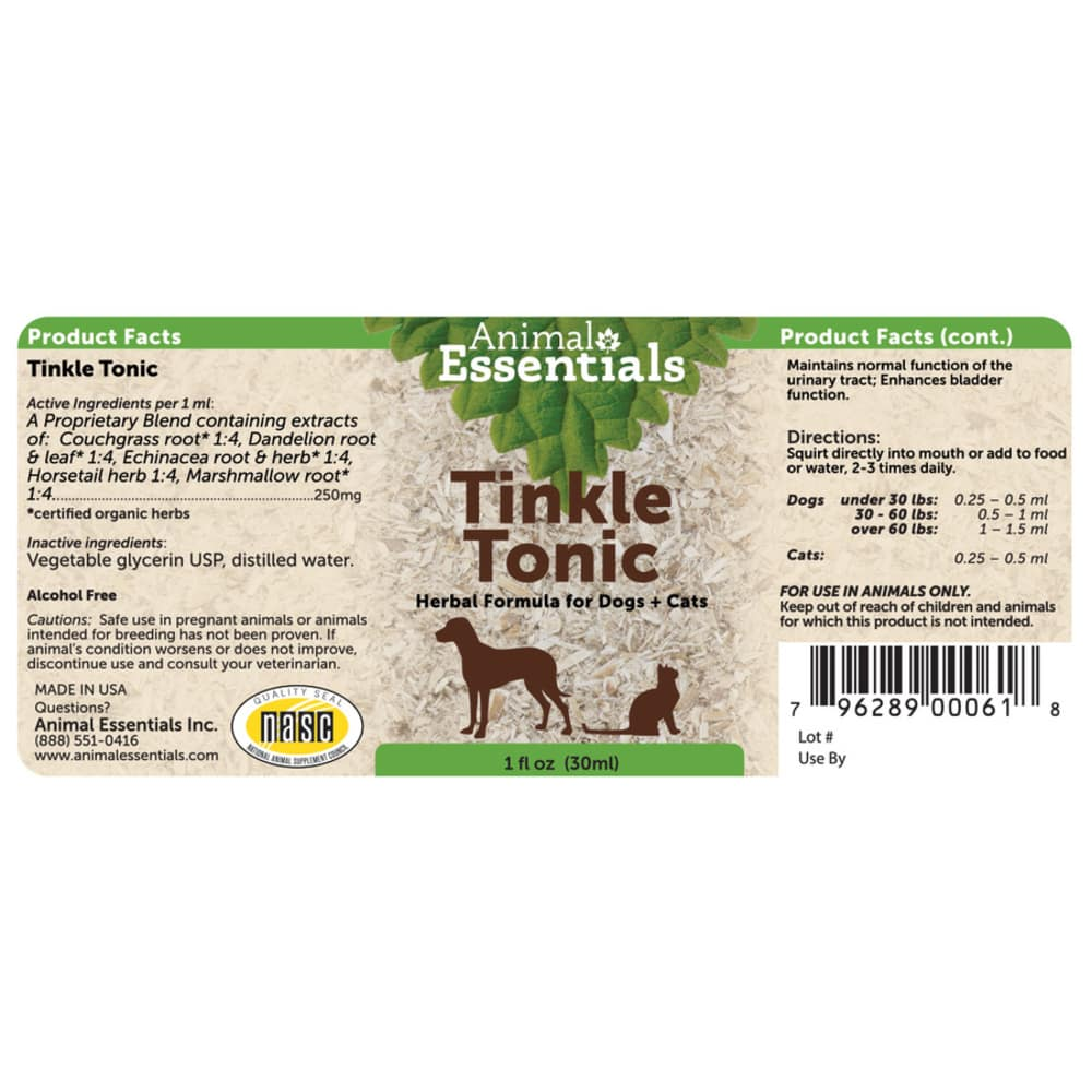 Animal Essentials - Apawthecary Tinkle Tonic Herbal Formaul For Dogs & Cats 1oz