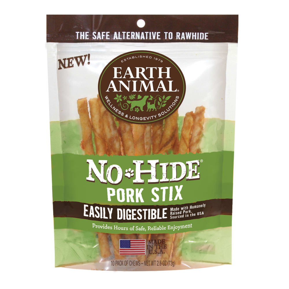 Earth Animal - No-Hide Easily Digestible Pork Stix Dog Chews 10 Pack