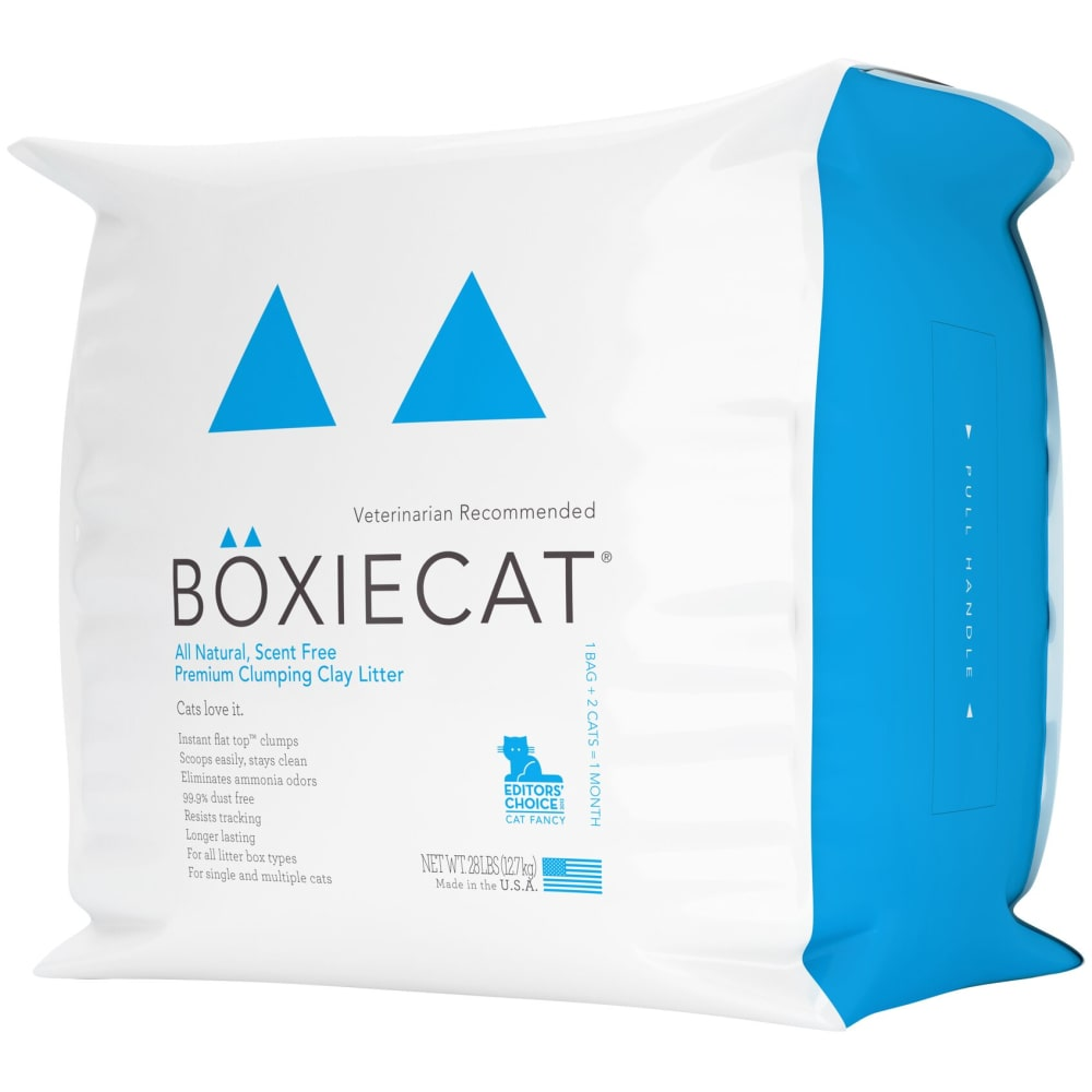 BoxieCat - All Natural, Scent Free Premium Clumping Clay Cat Litter, 28lb