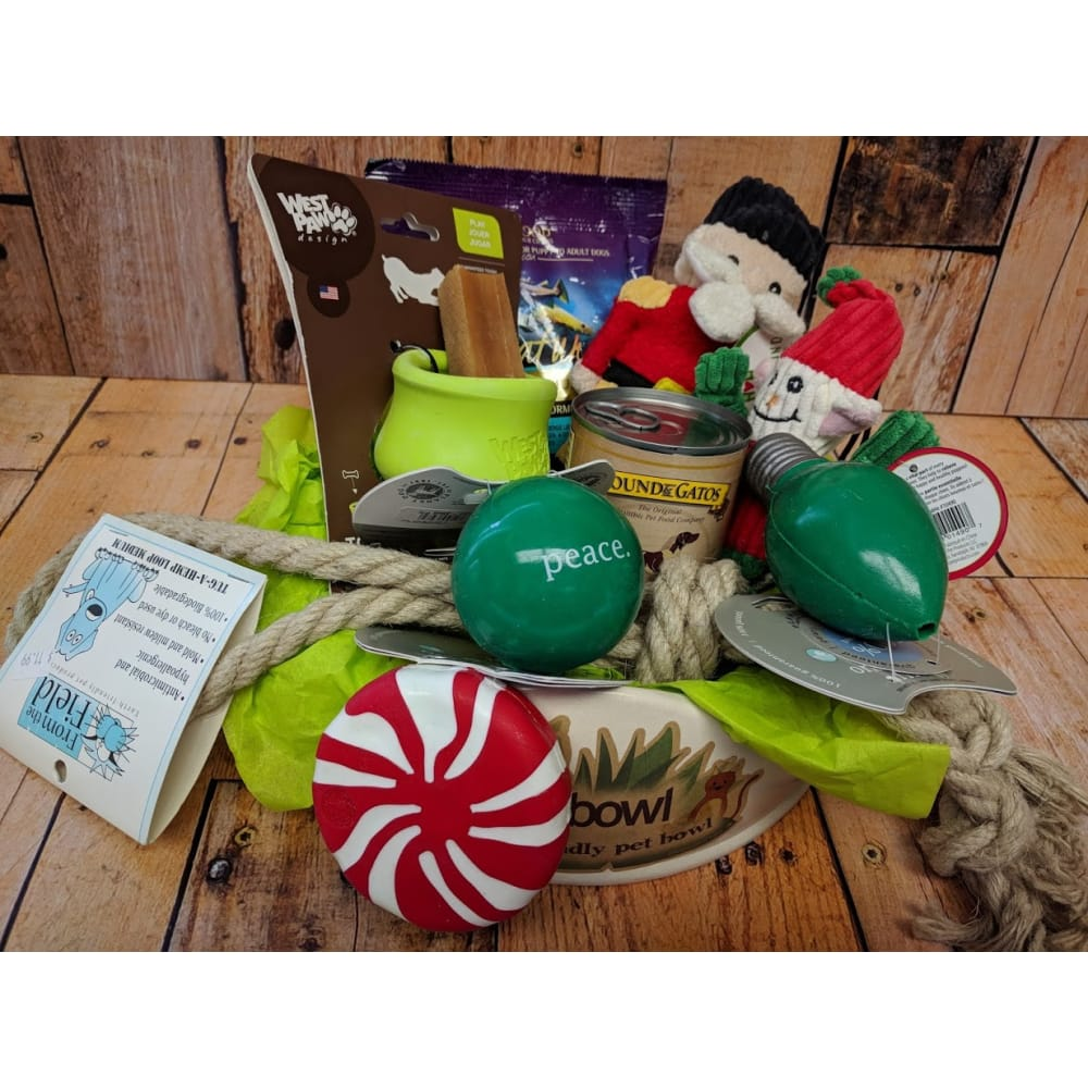 Christmas Themed Gift Basket for Small Dog, $80 VALUE