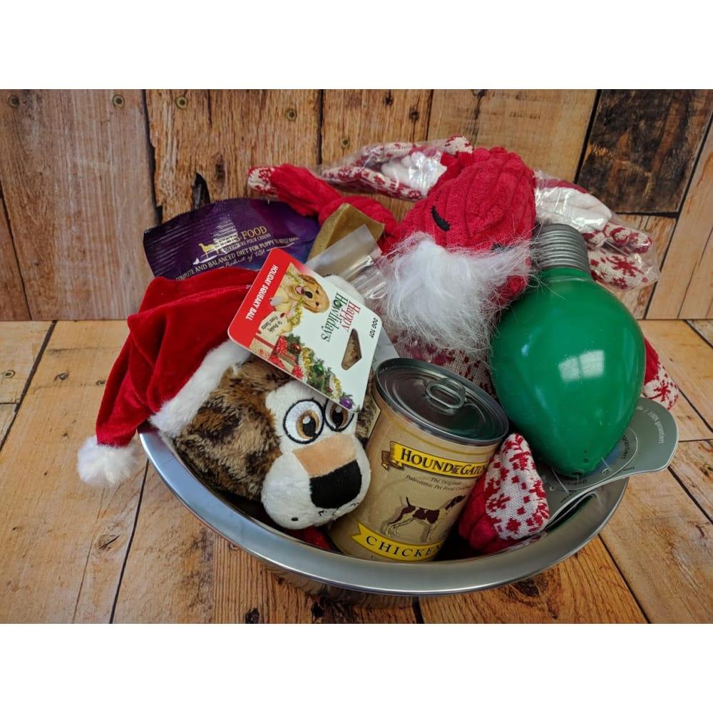 Christmas Themed Gift Basket for Medium to Large Dog, $60 VALUE