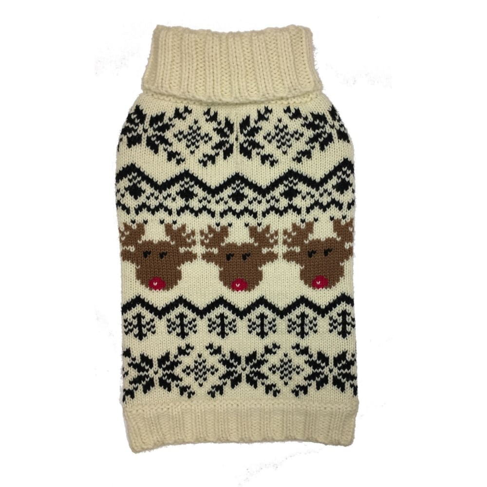 Fab Dog - Reindeer Fairisle Dog Sweater Cream