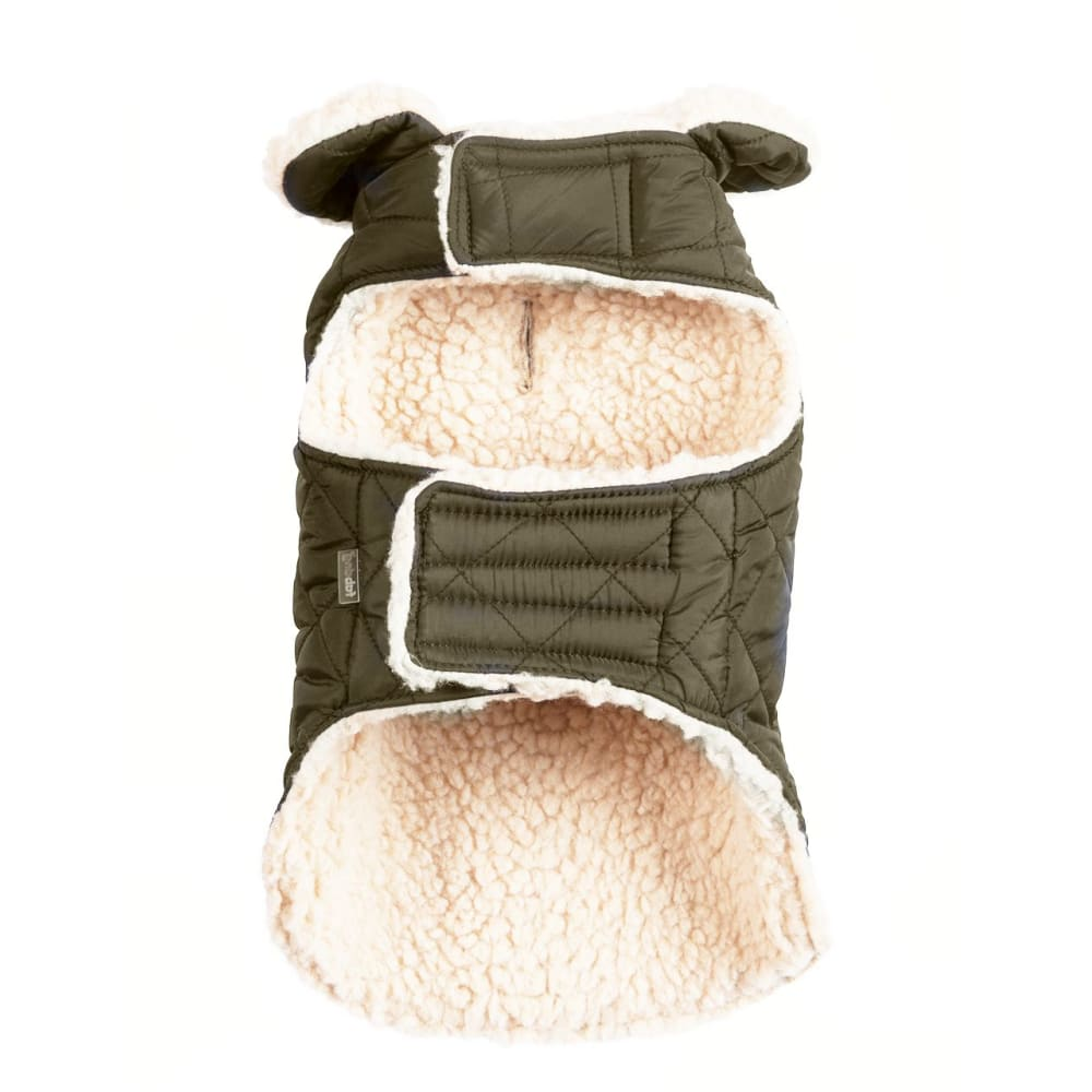 Fab Dog - Quilted Shearling Dog Coat Olive