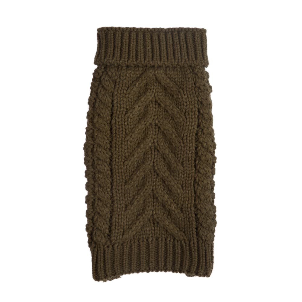 Fab Dog - Super Chunky Knit Turtleneck Dog Sweater Olive