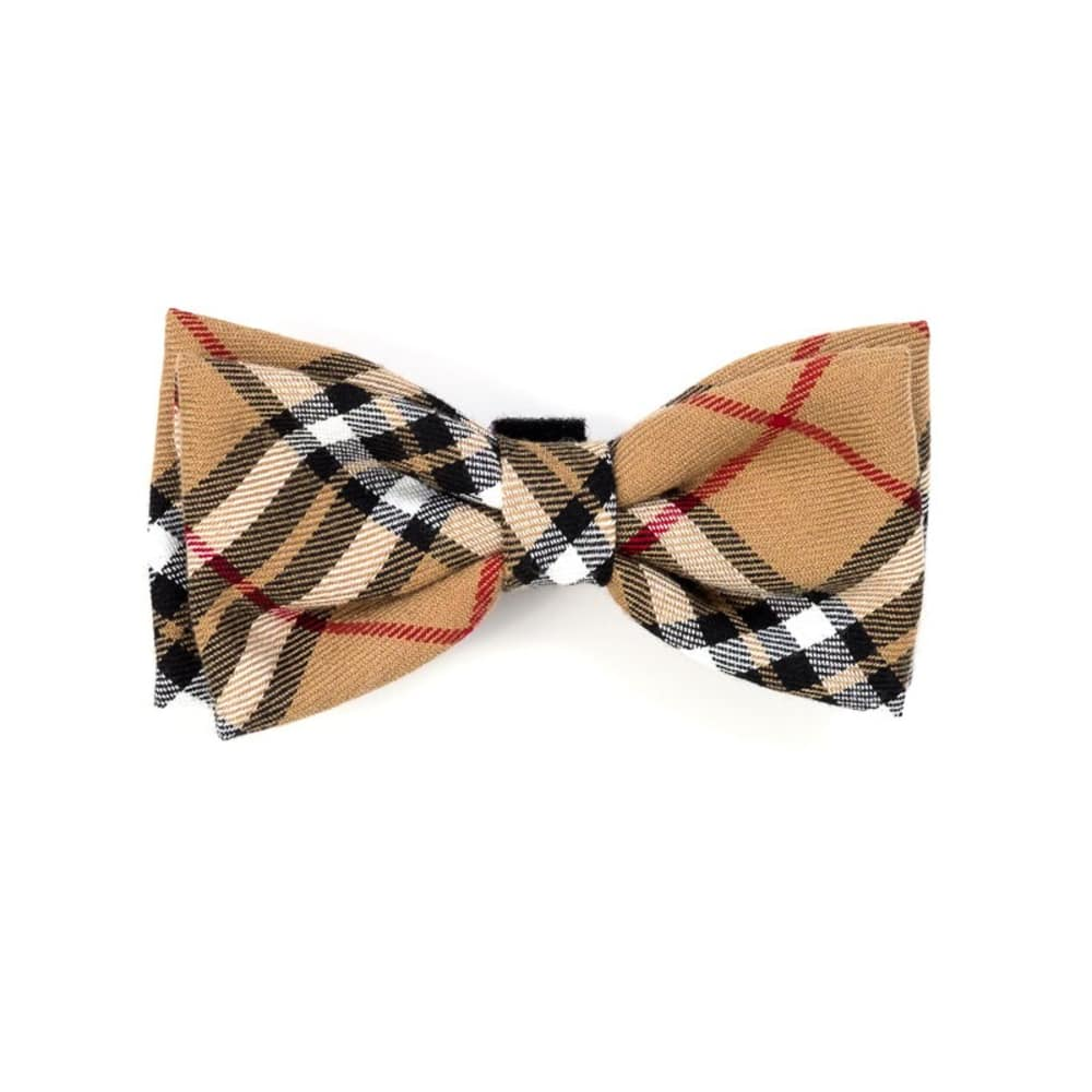 The Worthy Dog - Plaid Tan Bow Tie
