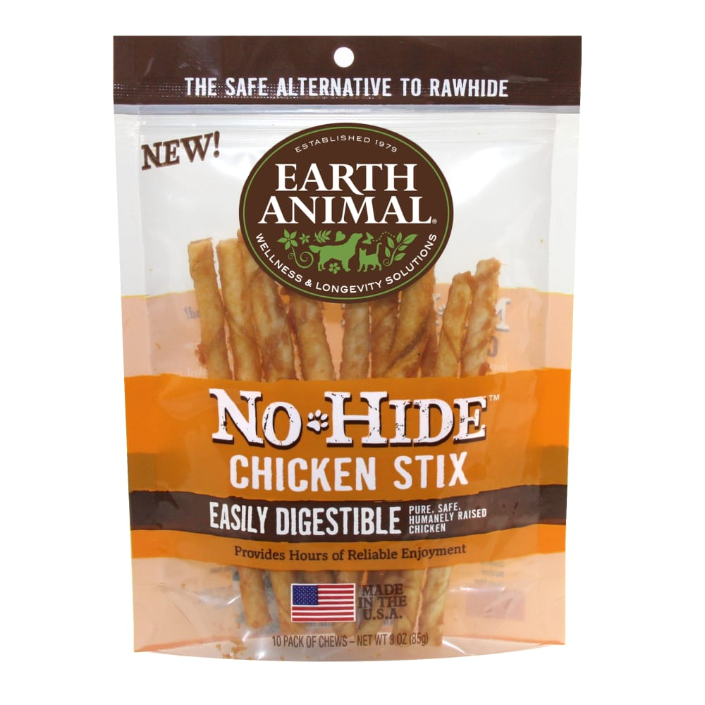 Earth Animal - No-Hide Easily Digestable Chicken Stix 10 Pack Dog Chews, 3oz