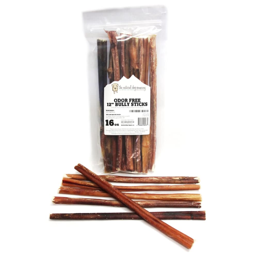 The Natural Dog Company - Odor Free 12 Inch Bully Stick Pack Grain-Free Dog Chews