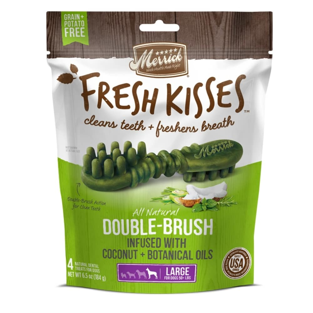Merrick - Fresh Kisses Double-Brush Coconut & Botanical Oils Dental Chews