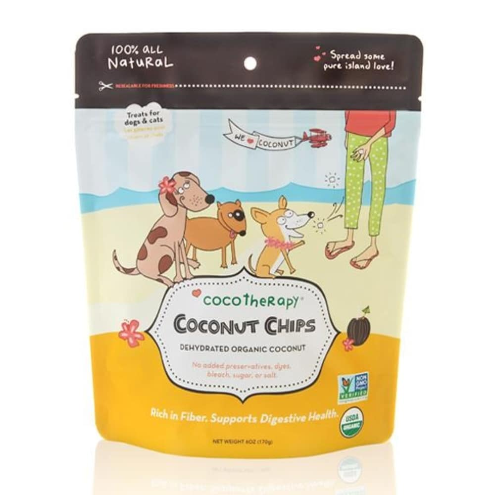 Coco Therapy - Dehydrated Organic Coconut Chips Grain-Free Dog Treats, 6oz