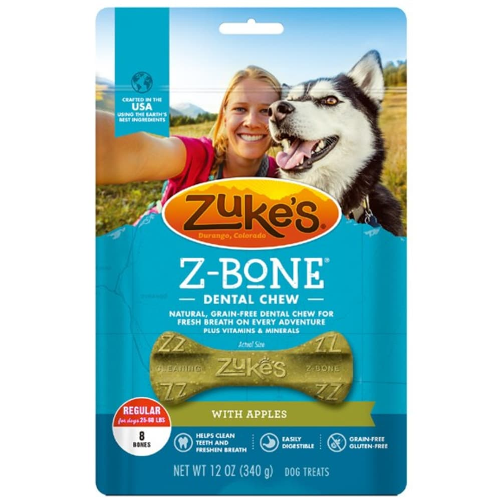 Zuke's - Z- Bones Edible Dental Chews Clean Apple Crisp Flavor Grain-Free Dog Treat, 12oz