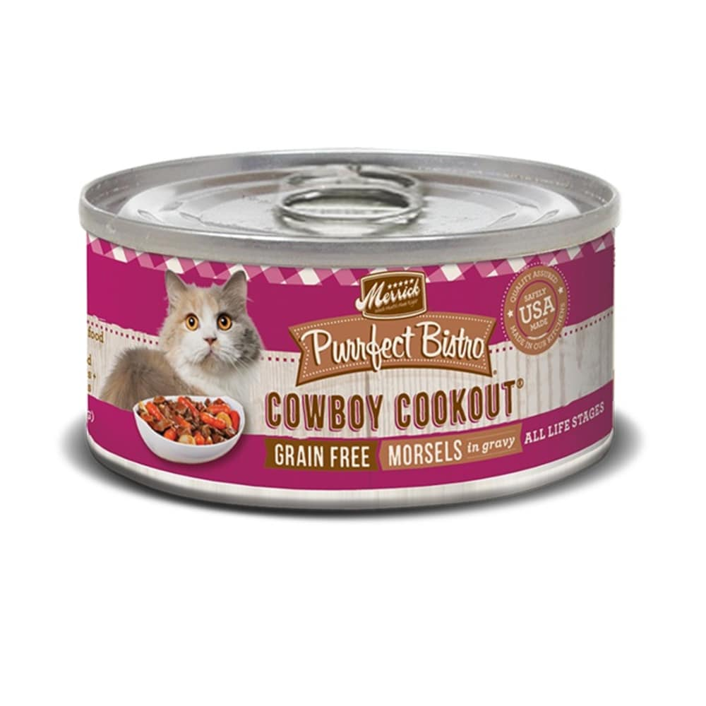Merrick - Purrfect Bistro Grain-Free Cowboy Cookout Morsels In Gravy Canned Cat Food