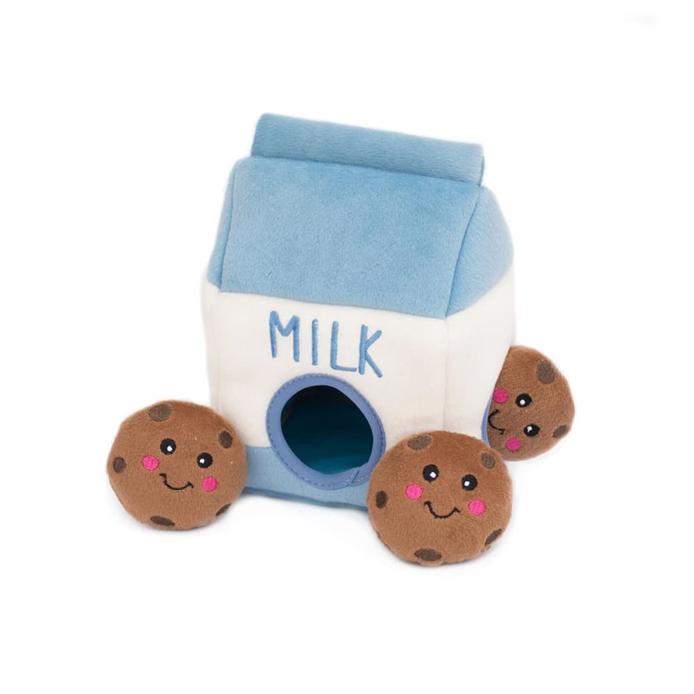 Zippy Paws - Milk & Cookies Interactive Burrow Dog Toy