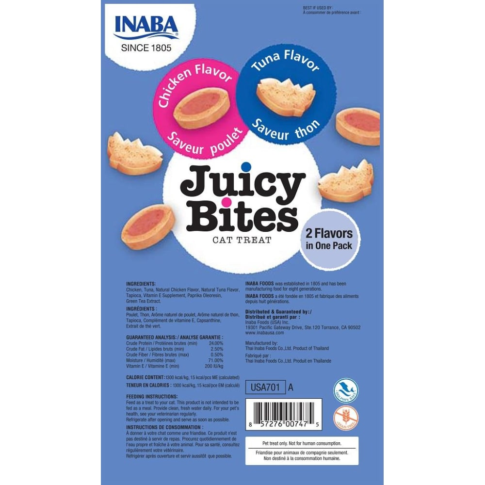 Inaba Ciao - Juicy Bites Chicken & Tuna Flavor Cat Treats, 3 Pack