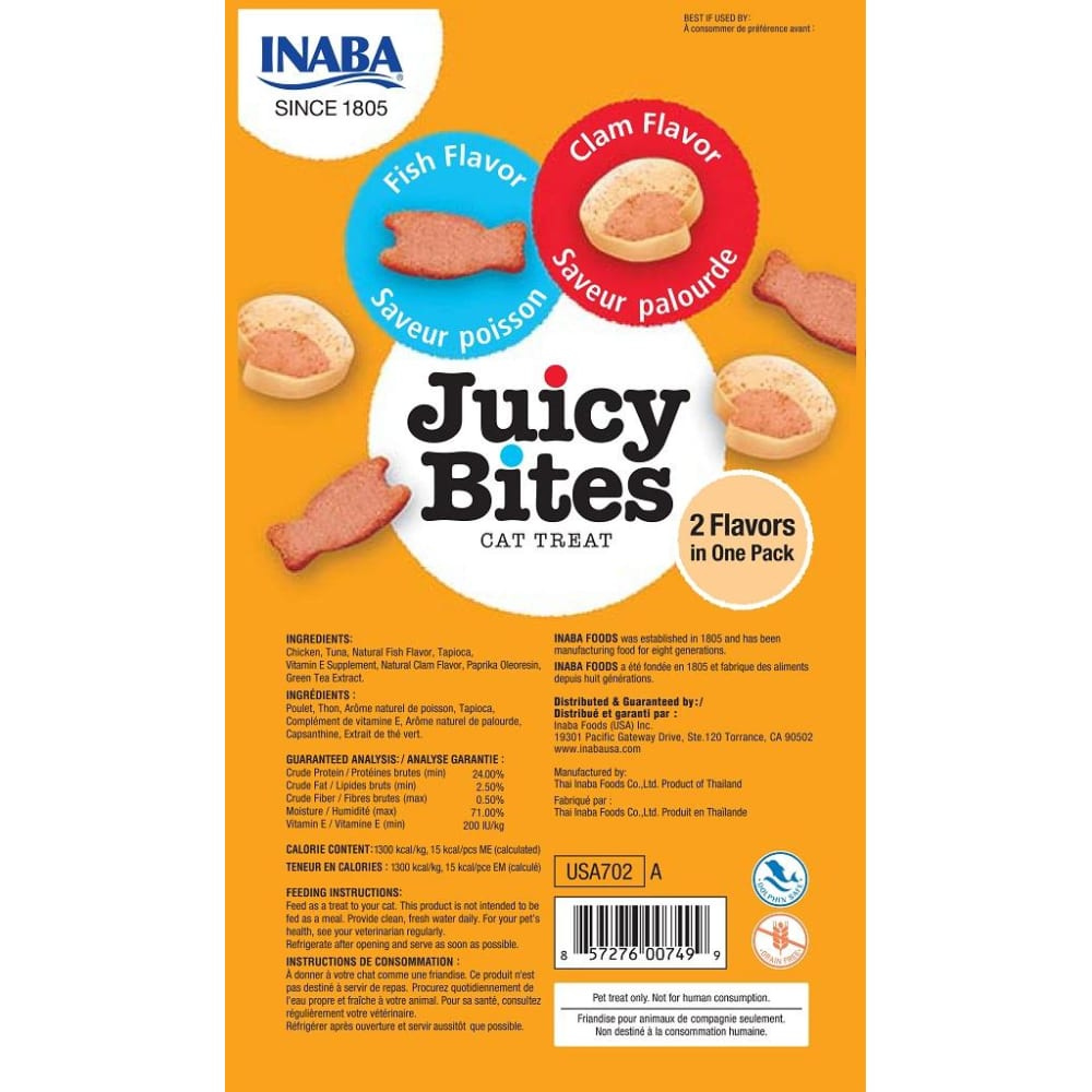 Inaba Ciao - Juicy Bites Fish & Clam Flavor Cat Treats, 3 Pack