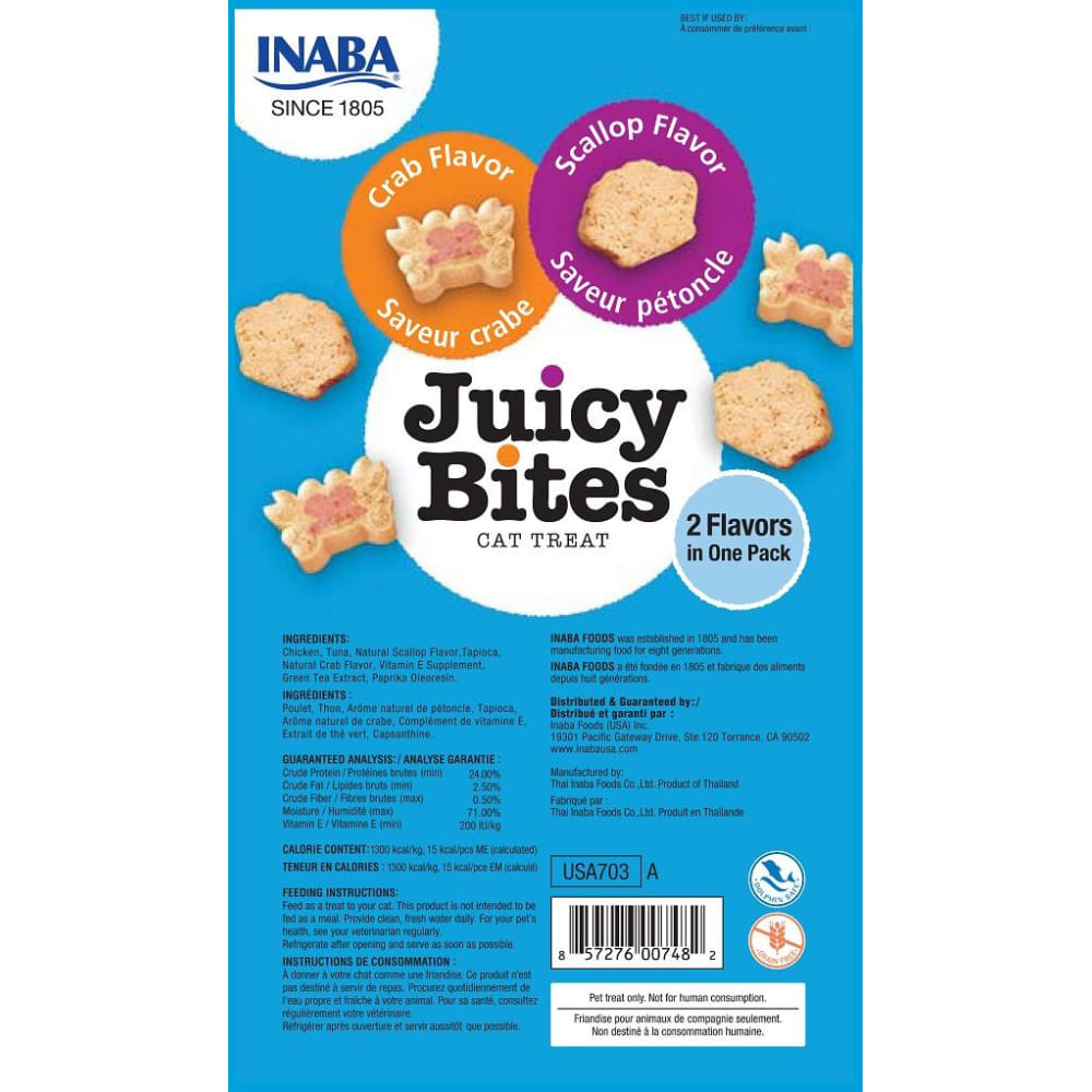 Inaba Ciao - Juicy Bites Crab & Scallop Flavor Cat Treats, 3 Pack