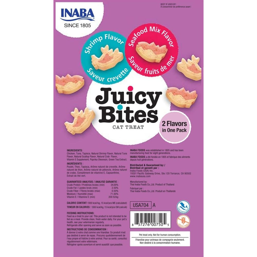 Inaba Ciao - Juicy Bites Shrimp & Seafood Flavor Cat Treats, 3 Pack