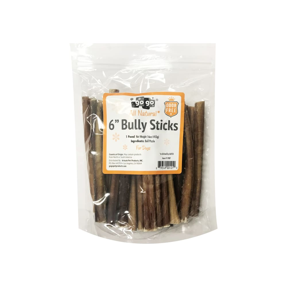"GoGo - 6"" Odor Free Bully Stick Dog Chews 1lb Value Pack"