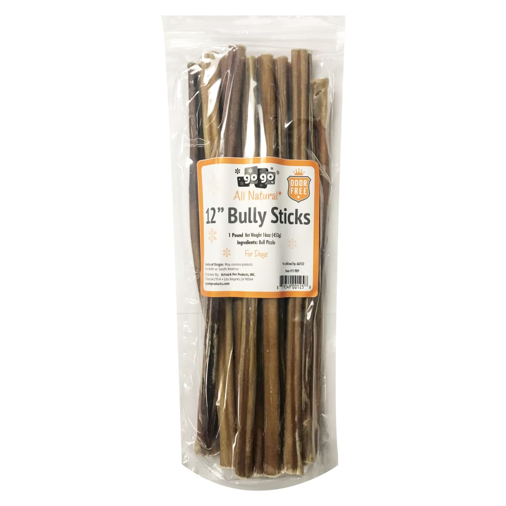 "GoGo - 12"" Odor Free Bully Stick Dog Chews 1lb Value Pack"