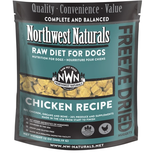 Northwest Naturals - Complete And Balanced Chicken Recipe Nuggets Grain-Free Freeze-Dried Dog Food, 12oz