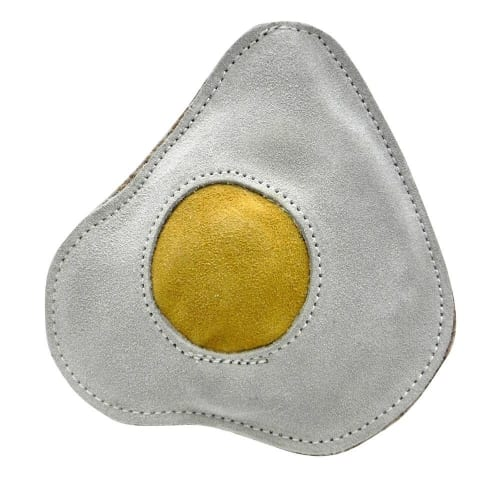 Aussie Naturals - 100% Natural Eco-Friendly Leather & Rope Fried Egg With Squeaker Dog Toy