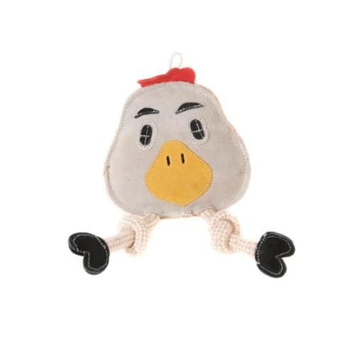 Aussie Naturals - 100% Natural Eco-Friendly Leather Flattie Chicken With Squeaker Dog Toy