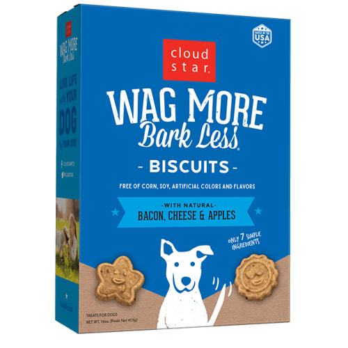 Cloud Star - Wag More Bark Less Oven Baked Bacon, Cheese & Apples Biscuits Dog Treats, 16oz