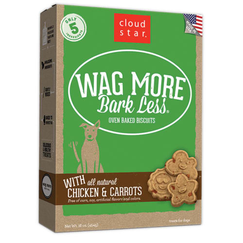 Cloud Star - Wag More Bark Less Oven Baked Chicken & Carrots Biscuits Dog Treats, 14oz
