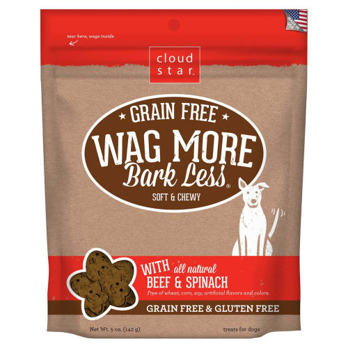 Cloud Star - Wag More Bark Less Soft & Chewy Beef & Spinach Grain-Free Dog Treats, 6oz