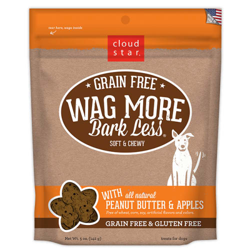 Cloud Star - Wag More Bark Less Soft & Chewy Peanut Butter & Apples Grain-Free Dog Treats, 5oz