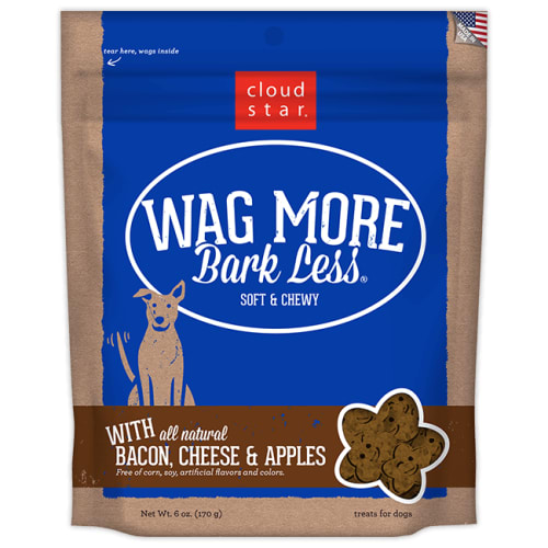 Cloud Star - Wag More Bark Less Soft & Chewy Bacon, Cheese & Apples Dog Treats, 6oz