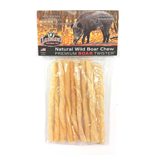 Tasman's Natural Pet - Premium Wild Boar Rawhide Twister 10 Count Dog Chews, Small