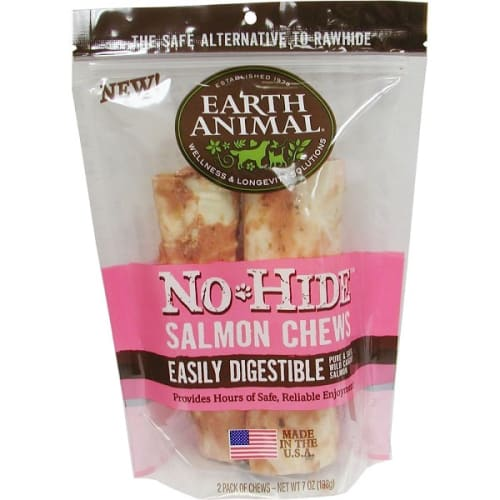 Earth Animal - No-Hide Easily Digestible Salmon Dog Chew 2 Pack