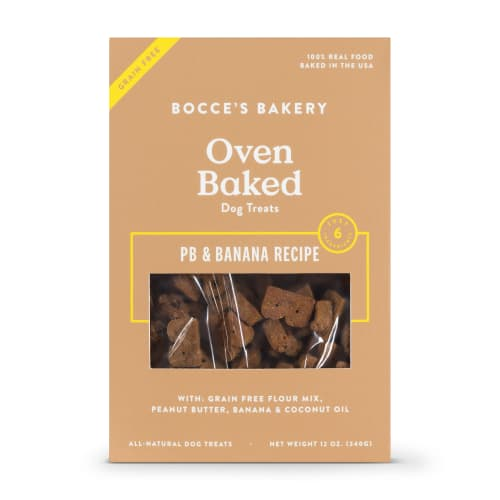 Bocce's Bakery - All Natural Peanut Butter & Banana Buscuits Grain-Free Dog Treats, 12oz