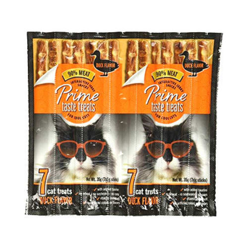Prime Taste Treats - Interactive Jerky Snacks Duck Flavor Grain-Free Cat Treats, 7 Pack