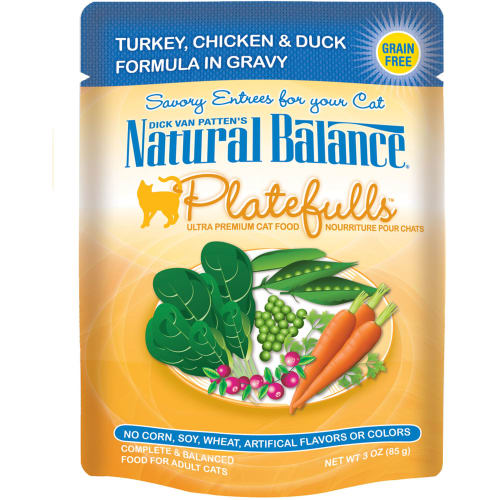 Natural Balance - Platefulls Turkey, Chicken & Duck Formula In Gravy Grain-Free Cat Food Pouch, 3oz