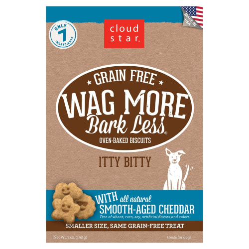 Cloud Star - Wag More Bark Less Grain-Free Itty Bitty Oven Baked Biscuits With Smooth Aged Cheddar Dog Treats, 7oz