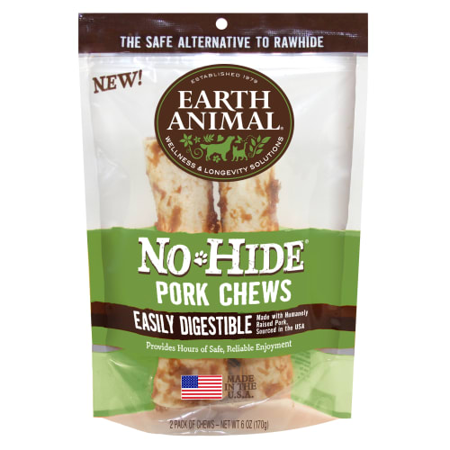 Earth Animal - No-Hide Easily Digestible Pork Dog Chew 2 Pack