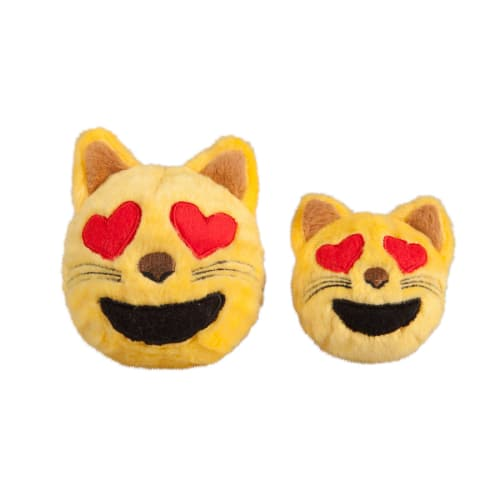 Fab Dog - Cat Heart Eyes Emoji Faball Squeaky Dog Toy
